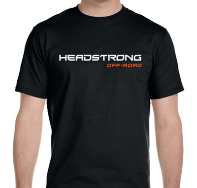 HeadStrong Off-Road Black T-Shirt with White and Orange Apparel swag
